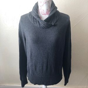 Jeanne Pierre Cable Knit Cowl Neck Sweater M Grey